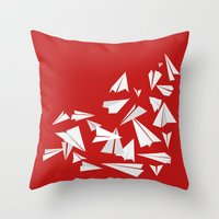 planes Throw Pillows featuring Paper Planes by Becky Gibson
