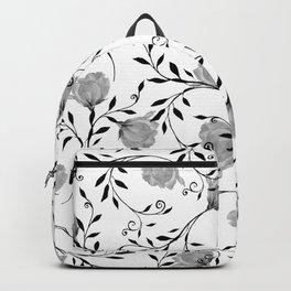 Black white watercolor botanical roses floral Backpack