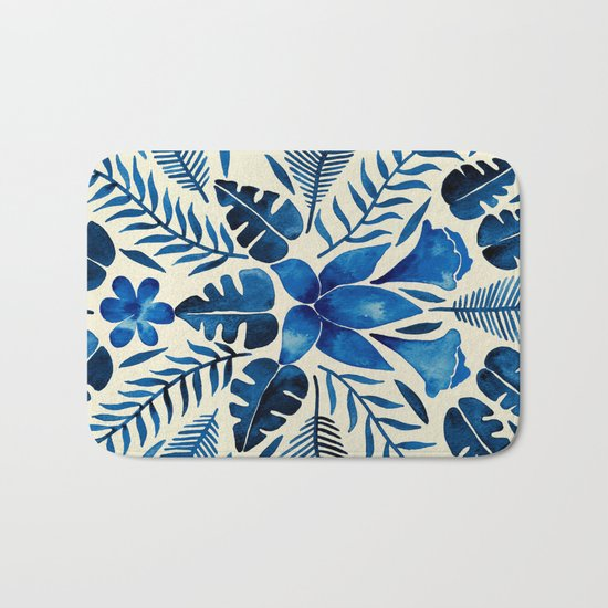 Tropical Symmetry – Navy Bath Mat