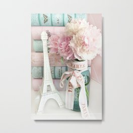 Shabby Chic Eiffel Tower Paris Peonies  Metal Print