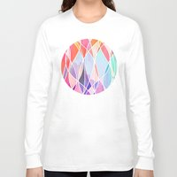 bedding Long Sleeve T-shirts featuring Purple & Peach Love - abstract painting in rainbow pastels by micklyn