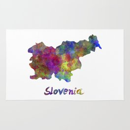 Slovenia in watercolor Rug