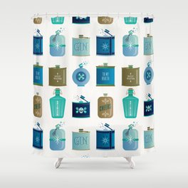 Flask Collection – Blue and Tan Palette Shower Curtain