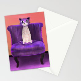 Elegant Cat violet Stationery Cards