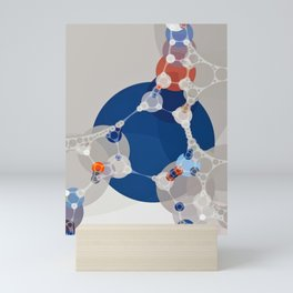 taylor - linen beige sapphire blue shades white burnt orange abstract Mini Art Print
