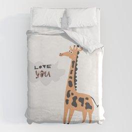 Love Giraffe Duvet Cover