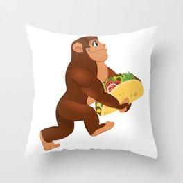 Bigfoot Taco Cinco de Mayo Funny Throw Pillow