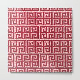 Oriental Symbol (Red & Silver) Metal Print
