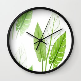 Large Lovely Leaves in Green Shades on White Background - Spring Summer Mood #decor #society6 #1 Wall Clock