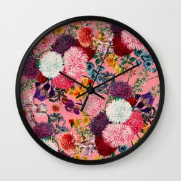 Floral Pink Pattern Wall Clock