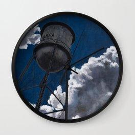 Marfa Texas Water Tower and Blue Sky Art Wall Clock