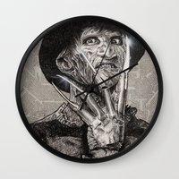 freddy krueger Wall Clocks featuring freddy krueger by calibos