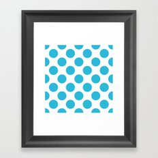 Cyan Vivid Arctic Blue Dots Large Framed Art Print