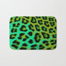 Aqua and Apple Green Leopard Spots Bath Mat