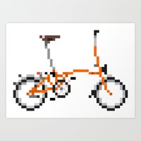 brompton Art Prints featuring Pixel Art Brompton bicycle - Orange by PixelArtM