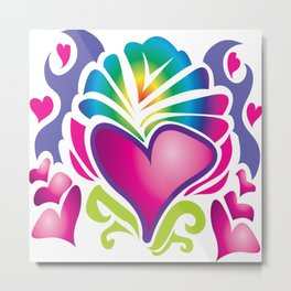 retro heart Metal Print