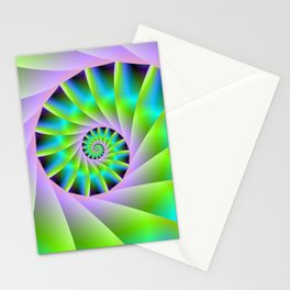 Turquoise Lilac and Green Spiral Stationery Cards