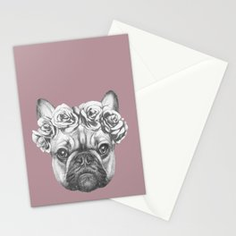 Pink Frenchie Stationery Cards