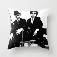 blues brothers Throw Pillows featuring Blues Brothers by DmDan