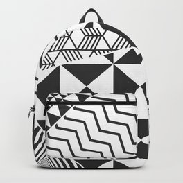 Abstract Geometric Triangle Pattern Black and White Backpack