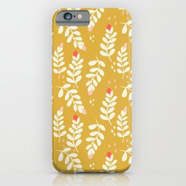 September Vines and Berries in Yellow iPhone Case