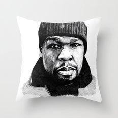 50 Cent Pen Drawing Throw Pillow