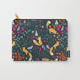 Fox Autumn Print - Dark Carry-All Pouch