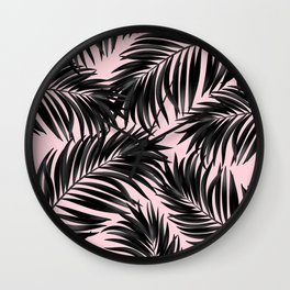 Palm Tree Fronds Black on Pink Hawaii Tropical Graphic Design Wall Clock