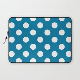 CG blue - blue - White Polka Dots - Pois Pattern Laptop Sleeve