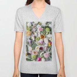 Colorful Summer Floral Unisex V-Neck