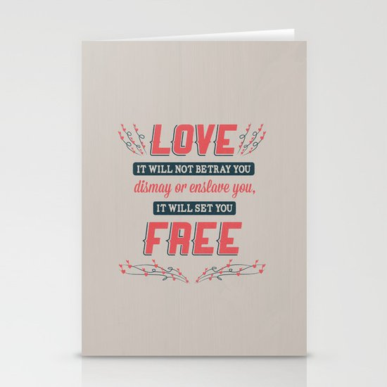 Love Will Set You Free Stationery Cards