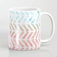 herringbone Mugs featuring Herringbone by Chilligraphy