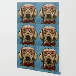 Yellow Lab with Glasses Art, Cute Lab Art, Pet Painting Wallpaper