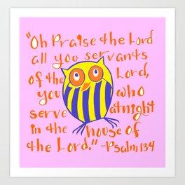 Owl Night Shift Bible Verse Art Print