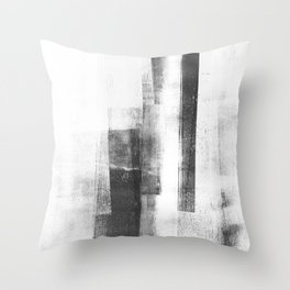 """Black and White Minimalist Geometric Abstract Painting """"Structure 3"""" Throw Pillow"""