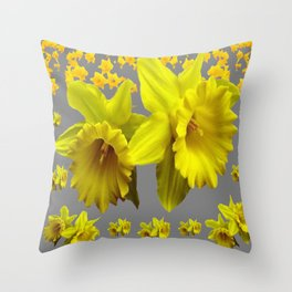 YELLOW DAFFODILS CHARCOAL GREY FLORAL Throw Pillow