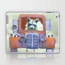 Raccoon Driving Old Red Truck Laptop & iPad Skin