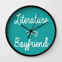 literature Wall Clocks featuring Literature is my boyfriend teal by Beautiful Bibliophile's Boutique