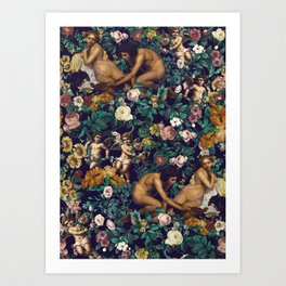 Young Greeks and Floral Pattern Art Print