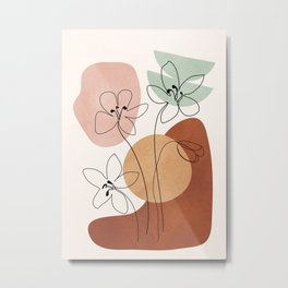 Minimal Abstract Flowers 04 Metal Print