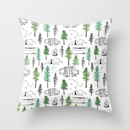 Camping and Trees Throw Pillow