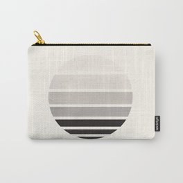 Grey Mid Century Modern Minimalist Circle Round Photo Staggered Sunset Geometric Stripe Design Carry-All Pouch