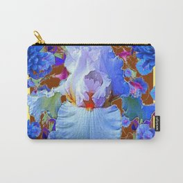 PASTEL IRIS & BLUE  BLUE FLOWERS YELLOW PATTERNS  FLOWERS ART FLOWERS Carry-All Pouch