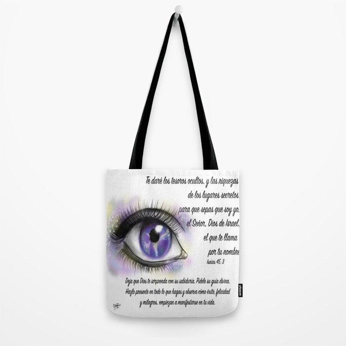 Ojo galaxia - Isaías 45, 3 Tote Bag
