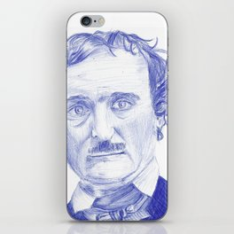 Edgar Allan Poe Portrait in Blue Bic Ink iPhone Skin