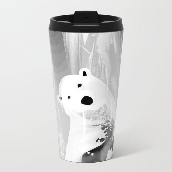Unique Black and White Polar Bear Design Metal Travel Mug