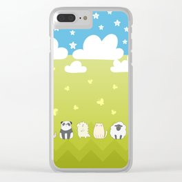 Cute Animals Art, Colorful Art with Clouds, Stars, Grass And Blue Sky Clear iPhone Case
