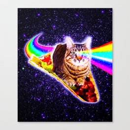 Rainbow Laser Eyes Galaxy Cat Riding Taco Canvas Print