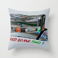 pocket fuel Throw Pillows featuring Need Some Fuel ? by Avigur