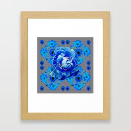 Baby Blue & Charcoal Grey Floral  Abstract Art Framed Art Print